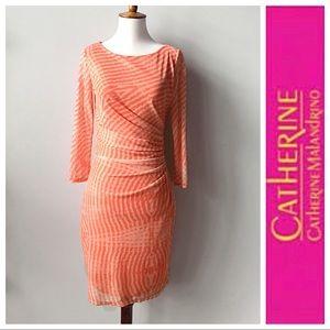 Catherine Malandrino Fitted Dress Mesh Sleeves